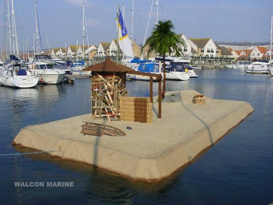 Floating beach hut by Walcon Marine