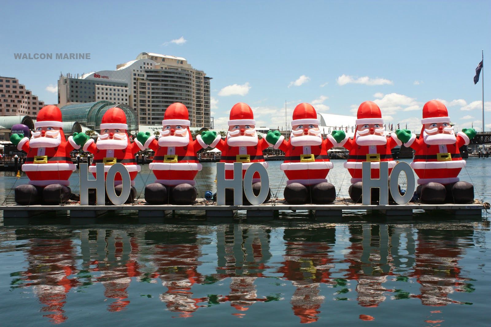Floating santa stage by Walcon Marine